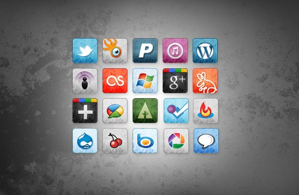 Stained and Faded Social Media Icons Vol. 2
