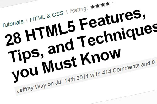HTML5 Tutorials, Resources, Guides & Tips for Developers