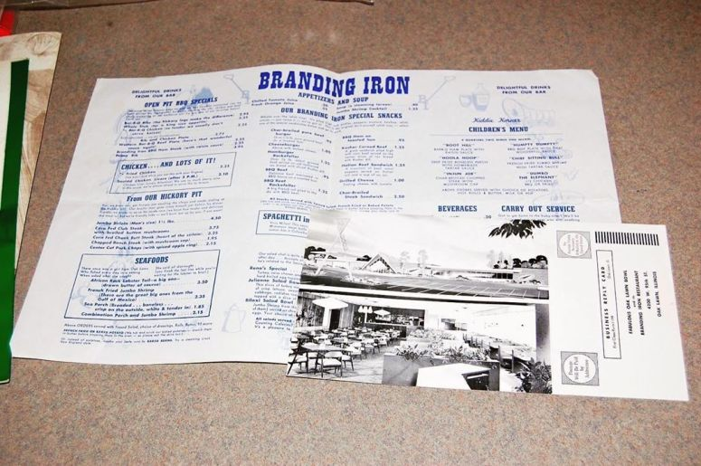 branding iron menu and postcard
