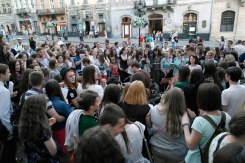 Young people singing in the streets of Lviv