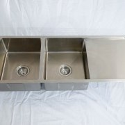 1110mm Double Bowl Stainless Steel Kitchen Sink with Drainer – Round Waste R15 Corners