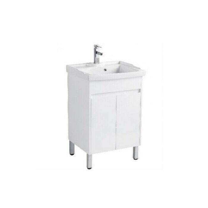 600mm ceramic laundry sink with white gloss polyurethane pvc cabinet on legs waterproof rustproof