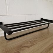 Solid-Brass-MATTE-BLACK-Square-Double-Shelf-Multi-Storage-Towel-Rack-Rail-Holder-252663570470-3