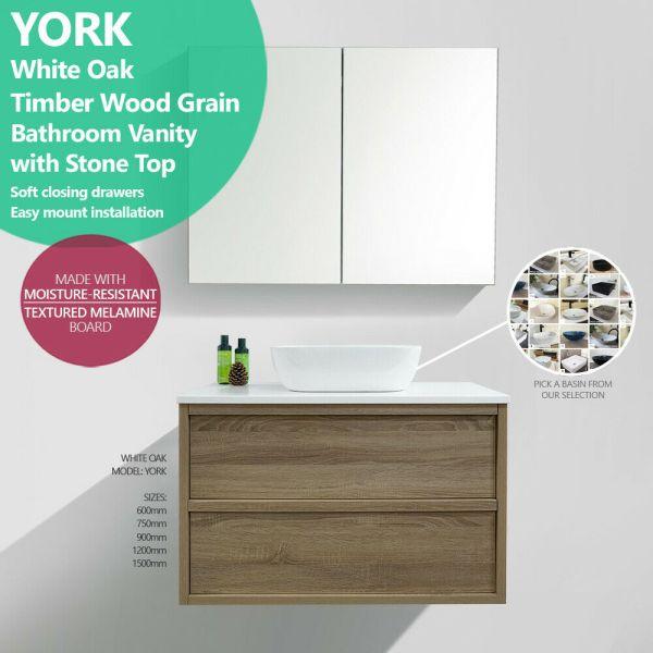 YORK-600-750-900-1200-1500-White-Oak-Timber-Wood-Grain-Shaker-Stone-Top-Vanity-254473118382