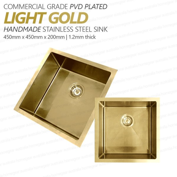 450mm-Square-LIGHT-GOLD-304-Stainless-Steel-LaundryKitchen-Sink-Premium-PVD-253206077023