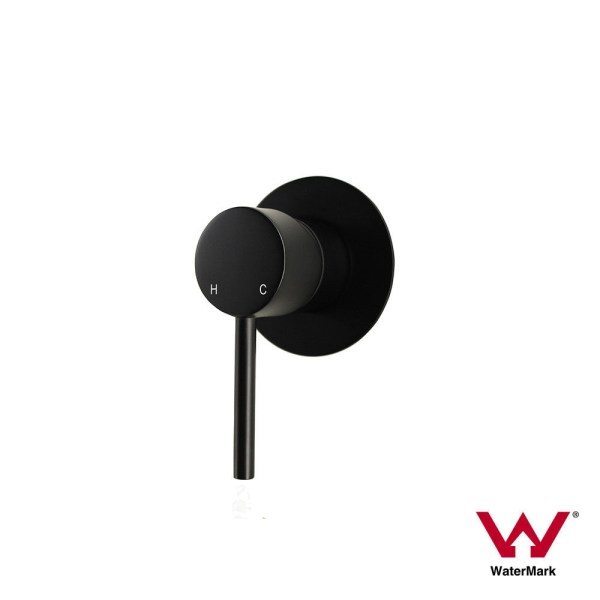 Round-Lollipop-Matte-Black-Ultra-Slim-Small-Wall-Shower-Bath-Mixer-Premium-Grade-253198750223