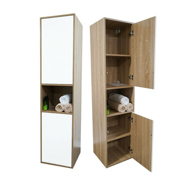 TRIO-1680mm-White-OakMatte-White-PVC-Thermal-Foil-Two-Tone-TallboySide-Cabinet-254624306903
