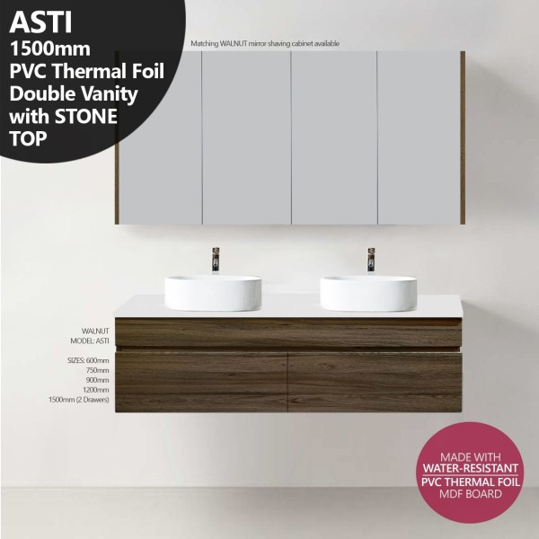 ASTI-1500mm-Walnut-Oak-Timber-Wood-Grain-PVC-THERMAL-FOIL-Vanity-w-Stone-Top-252951598214