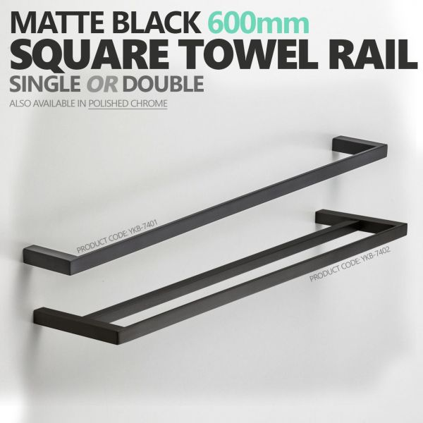 MODERN-Square-Matte-Black-600mm-Single-or-Double-Towel-Rail-Bathroom-Accessories-253826208404