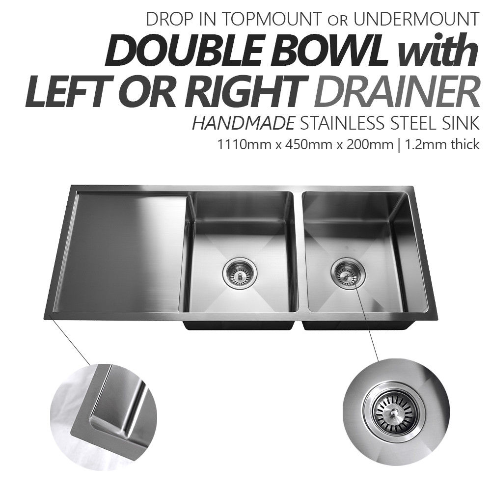 1110mm Double Bowl Handmade Stainless Steel Sink With Side Drainer |  Topmount Or Undermount | Homegear Australia