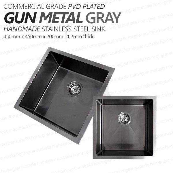 450mm-Square-GUN-METAL-GRAY-Premium-PVD-304-Stainless-Steel-LaundryKitchen-Sink-253205928475