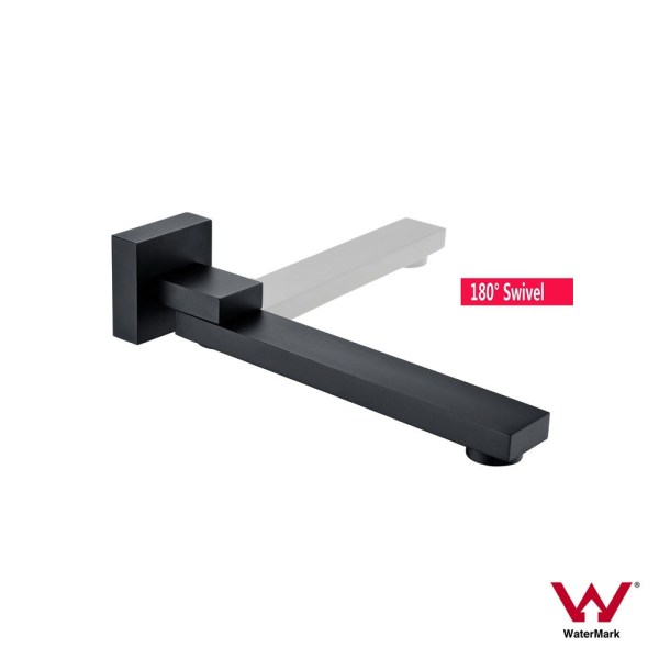 CUBE-SQUARE-Matte-Black-180-Swivel-Spout-Wall-Mount-Bath-Basin-Sink-Water-Outlet-252656011795