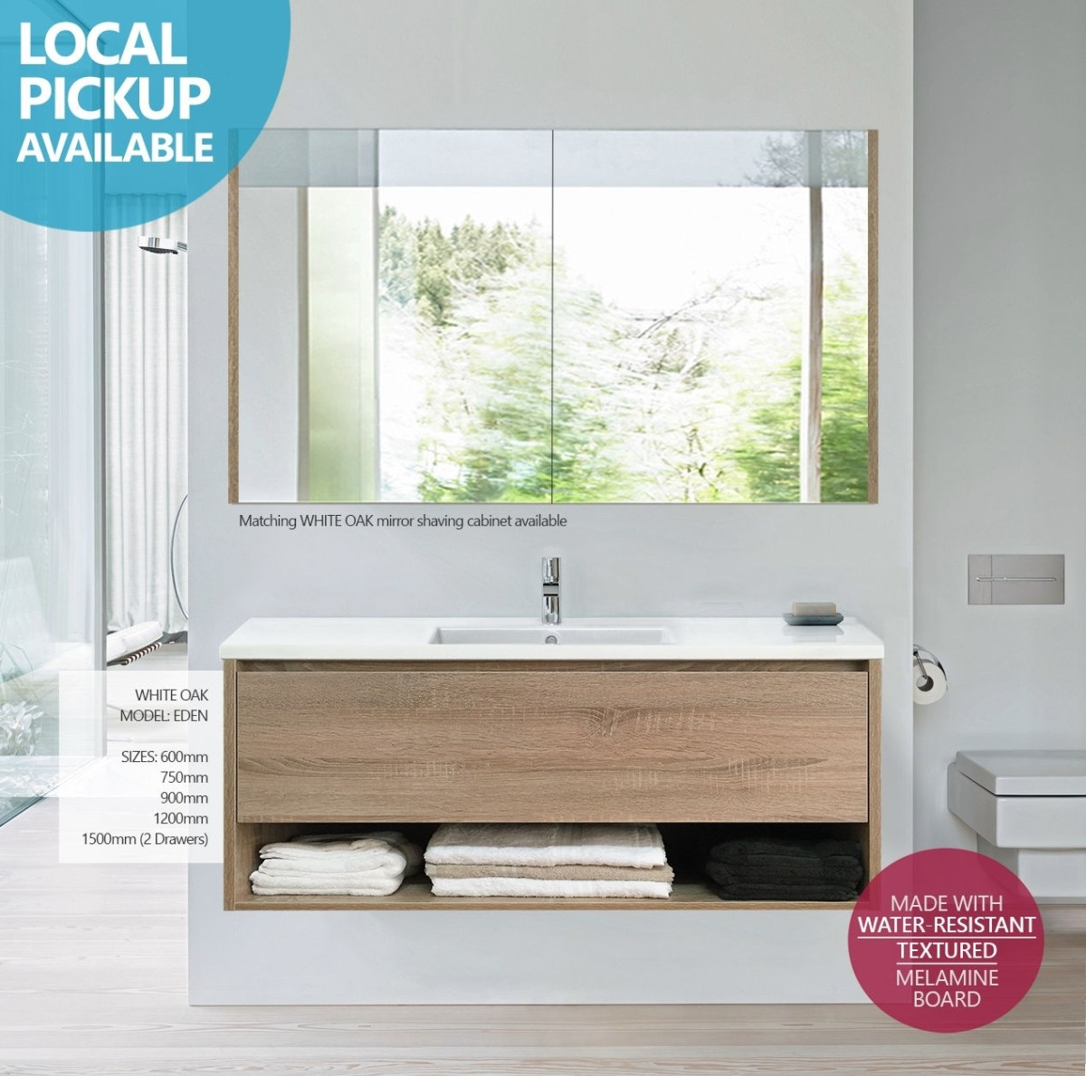 Eden  1200mm White Oak Textured Timber Wood Grain Wall Hung Vanity With  Towel Shelf  Homegear Australia
