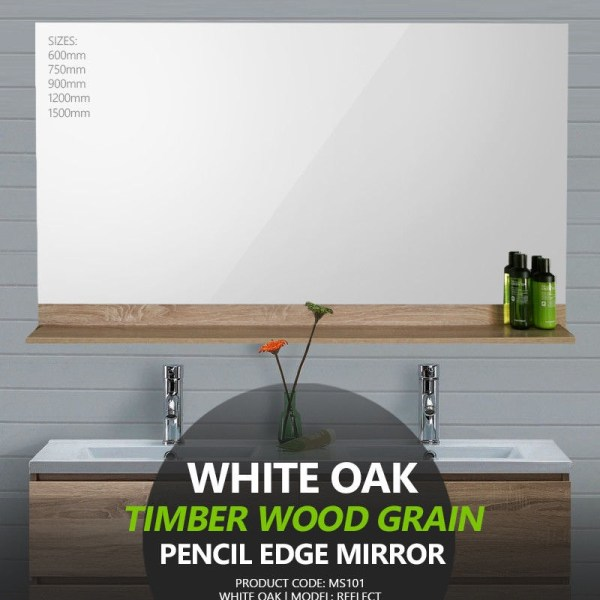White-Oak-Timber-Wood-Grain-Pencil-Edge-Mirror-w-Shelf-60075090012001500mm-253230057675