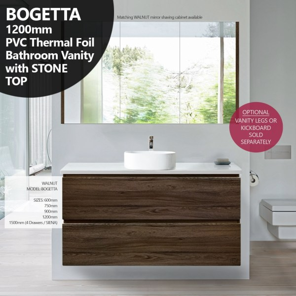 BOGETTA-1200mm-Walnut-Oak-PVC-THERMAL-FOIL-Timber-Wood-Grain-Vanity-w-Stone-Top-252958575316
