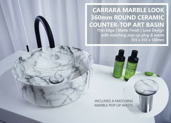 SALE-Round-Carrara-Marble-Above-Counter-Vanity-Basin-Bowl-w-FREE-Matching-Waste-254414621486