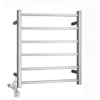 6 Bar Square Polished Chrome Heated Towel Rack
