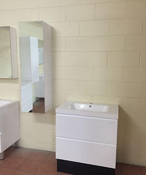 1200mm White Gloss Polyurethane Wall Hung Mirror Bathroom
