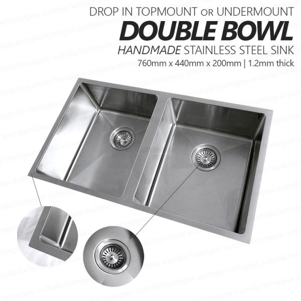 760mm-Double-Bowl-Premium-Grade-Stainless-Steel-Kitchen-Laundry-Sink-Round-Waste-253530954798