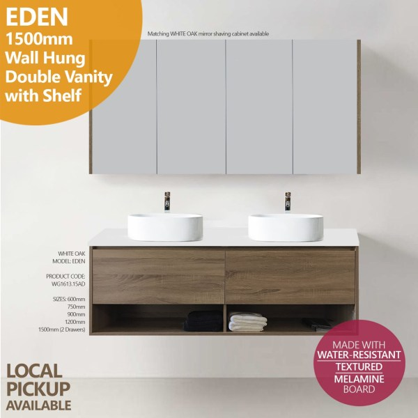 EDEN-1500mm-White-Oak-Timber-Wood-Grain-Wall-HungFloating-Vanity-w-Stone-top-252743964178