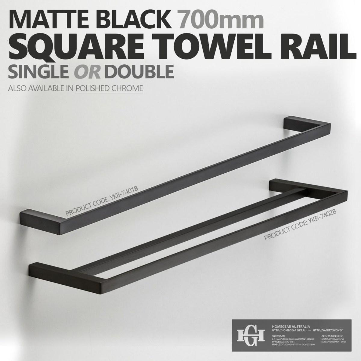 700mm Square Matte Black Bathroom Towel Rail Single Or