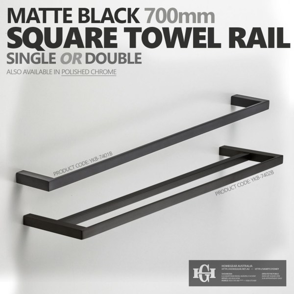 MODERN-Square-Matte-Black-700mm-Single-or-Double-Towel-Rail-Bathroom-Accessories-252748188388