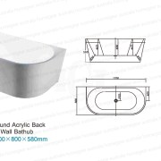 BT213 | 1700mm Round Back To Wall Freestanding Bath Specifications