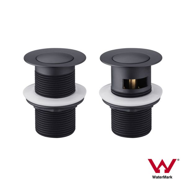 MATTE-BLACK-32mm-Pop-Up-Basin-Waste-Plug-with-or-without-OVERFLOW-Solid-Brass-252650728059