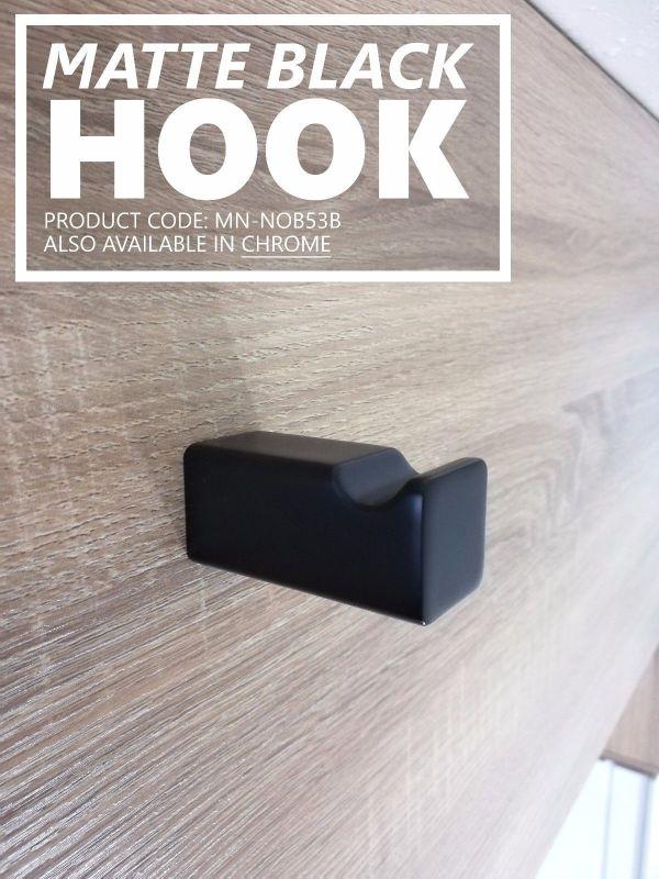 Modern-Square-MATTE-BLACK-Wall-Mount-RobeTowel-Hanger-Hook-Bathroom-Accessories-252660907249