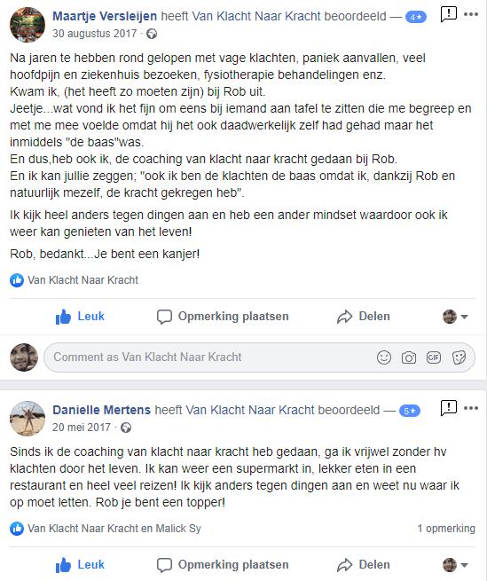 Facebook recensies van mijn online training. www.vanklachtnaarkracht.live