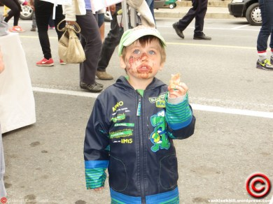 Our village has an annual food festival, called the 'Festival of Flavours', that brings thousands of people to our Main Street, and includes face painting... this year local artist, Susan Jephcott, was helping out. There was also free ice cream. This was one of Victor's favourite days ever.