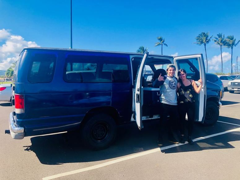 airport pick up drop off delivery service kahului guest from chilie in royal blue maui campervan rentals vanlife maui