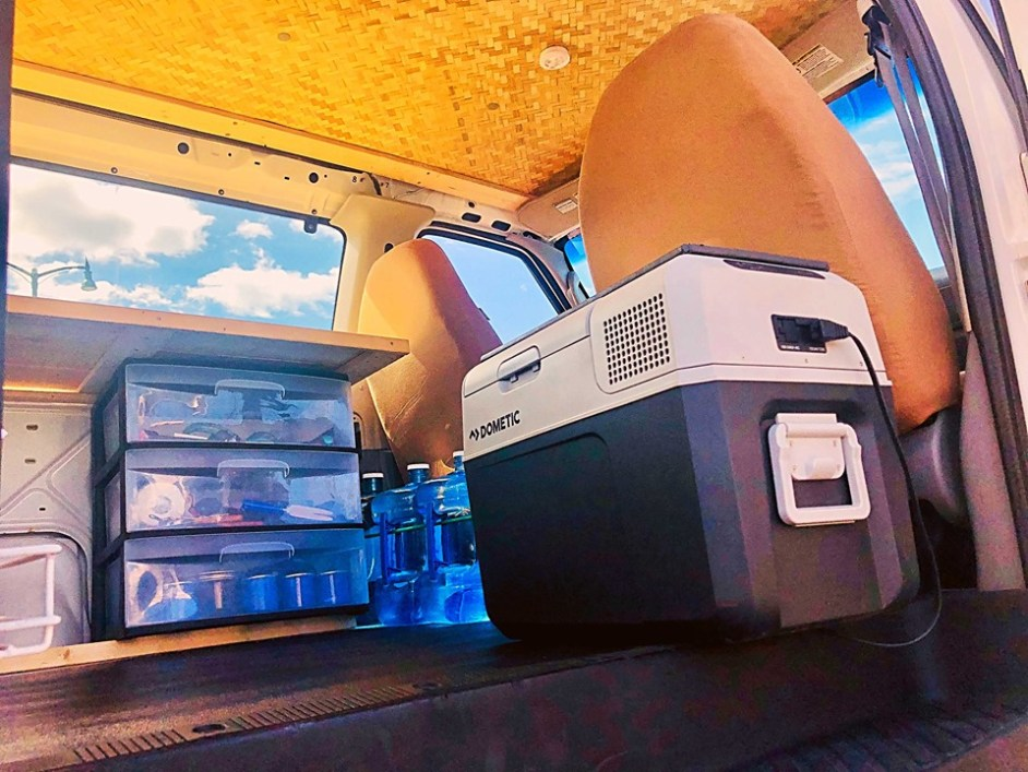dometic refrigerator 12volt vanlife maui campervan rentals camping hana road haleakala volcano drawer camping gear fully equipped cloud 9 tiki theme