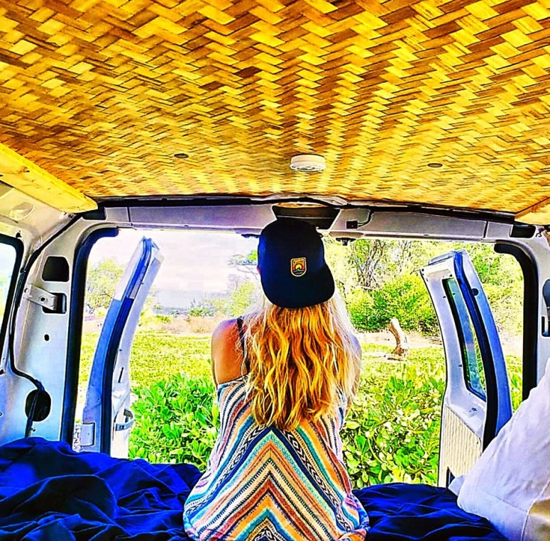 vanlife maui campervan rental cloud 9 fully equipped camper van wih solar panel sink shower snorkeling gear haleakala volcano hana road off gridguests couple from Caymen islands surfers