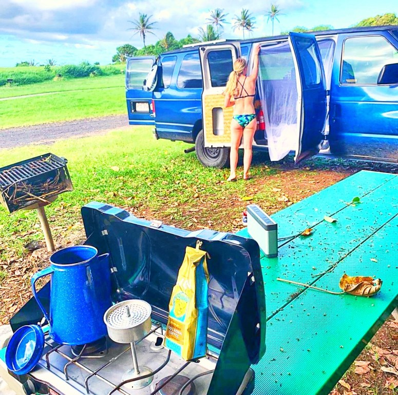 royal blue campervan vanlife maui fully equipped off grid living solar shower solar panel campsite in campground BBQ camping romantic getaway