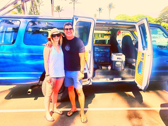 Guest vanlife maui campervan rentals from San Francisco in Royal Blue camper van hawaii fully equipped off grid