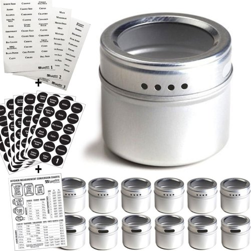 12 Magnetic Spice Tins & 2 Types of Spice Labels