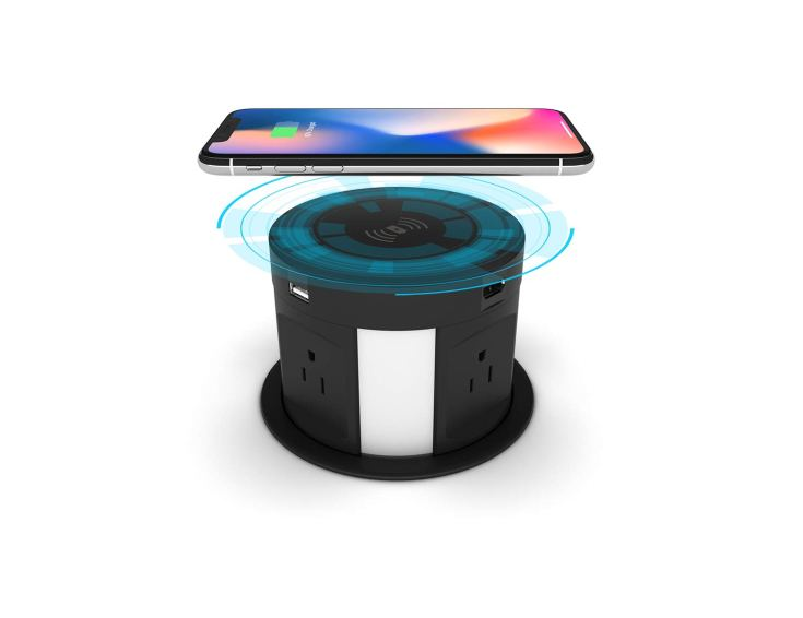 Automatic pop up outlet, wireless charger usb station