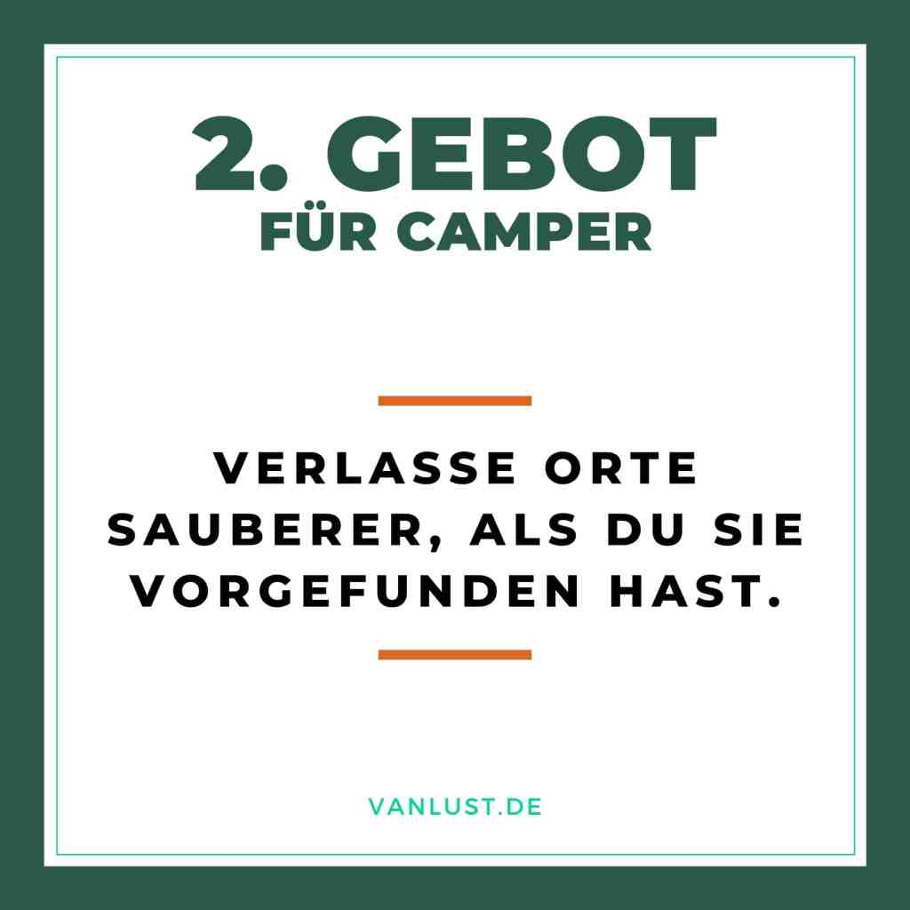 2. Gebot für Camper - 10 Gebote