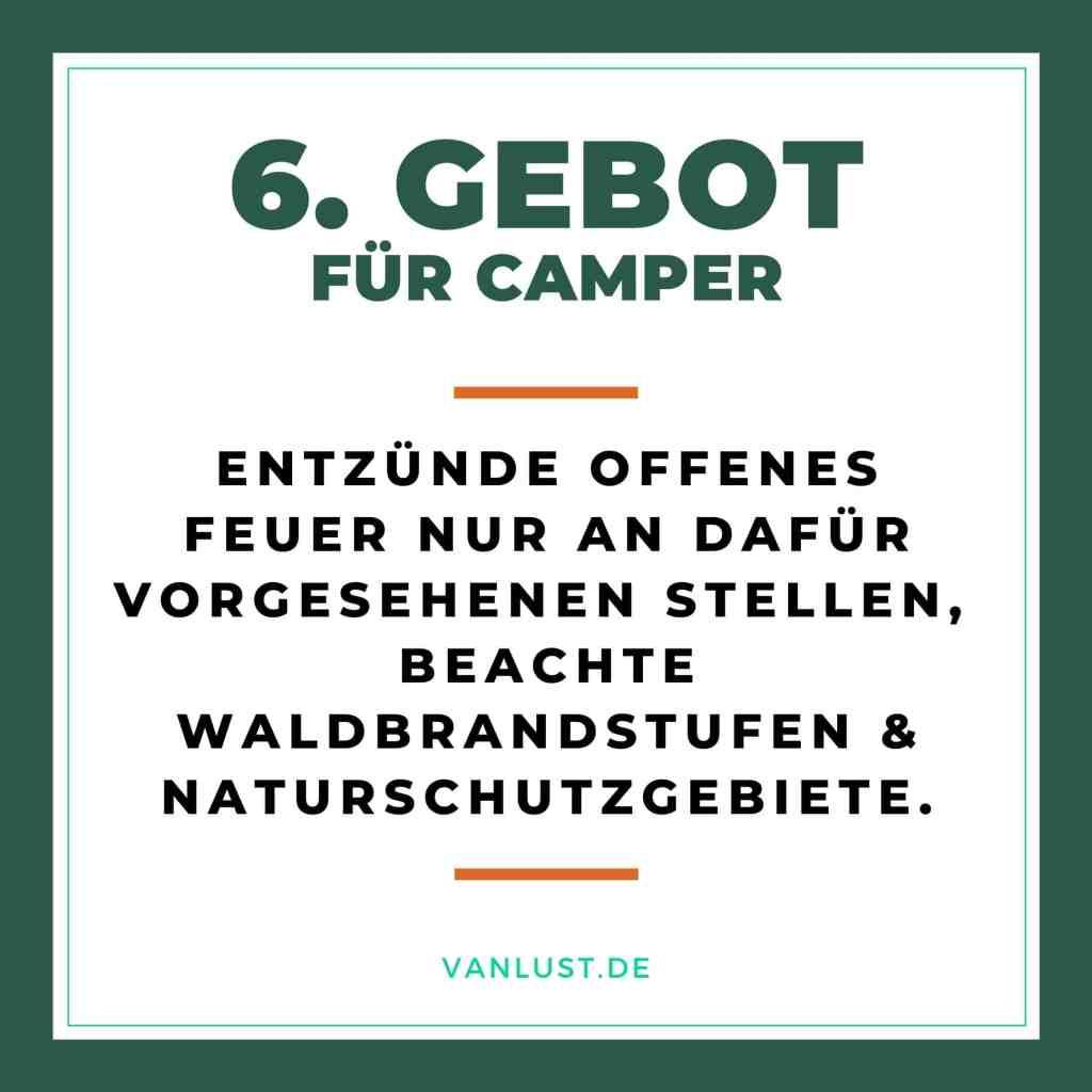 6. Gebot für Camper - 10 Gebote