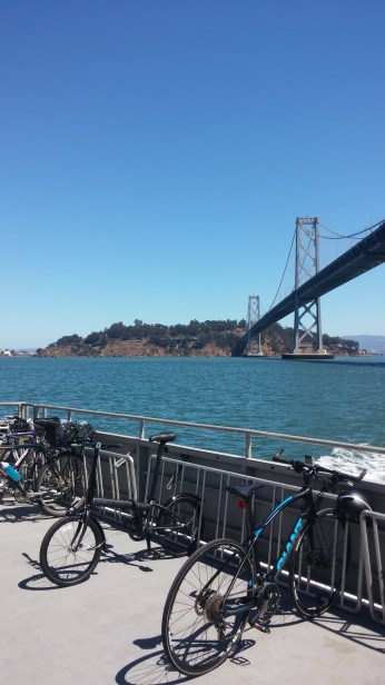 Looking back at the Bay Bridge and Yerba Buena Island as we take the ferry from Oakland to San Francisco. FAITH MECKLEY