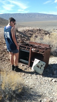 Near the Eureka Mine are the remains of a mining camp, featuring a few old houses and scattered furniture, like this stove. FAITH MECKLEY