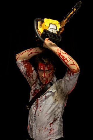 Scott Walter as Ash in Down Stage Right's production of Evil Dead: The Musical.