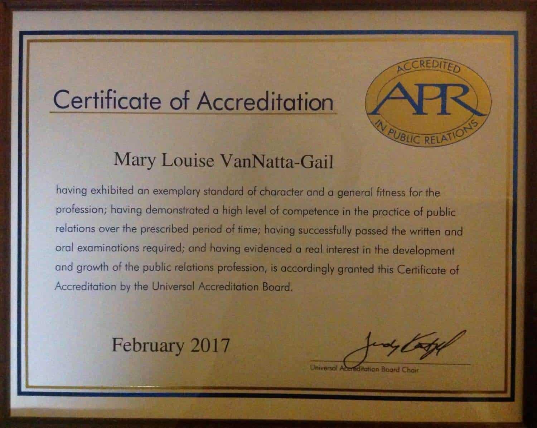 Mary Louise Vannatta Earns Accreditation In Public Relations