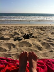 My summer toes on pinkish blanket