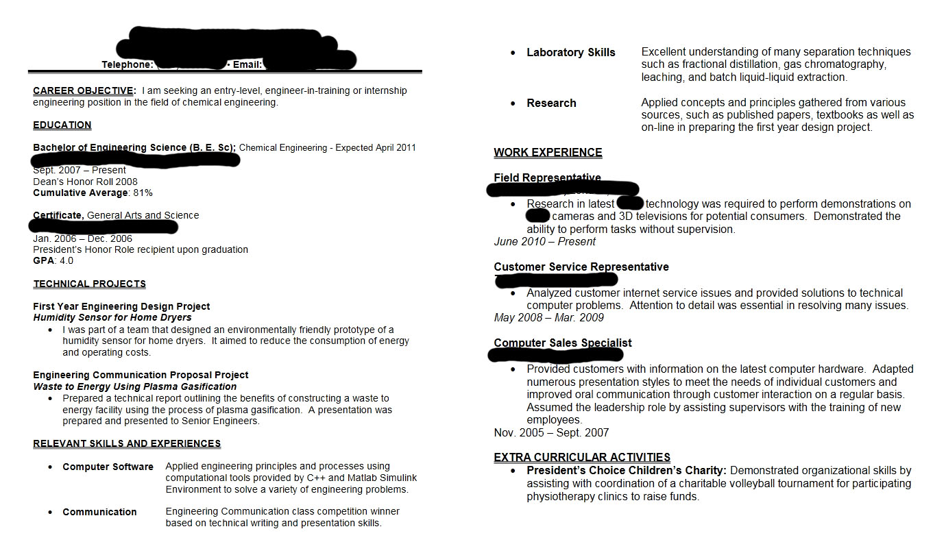 Resume Objective For Computer Engineer