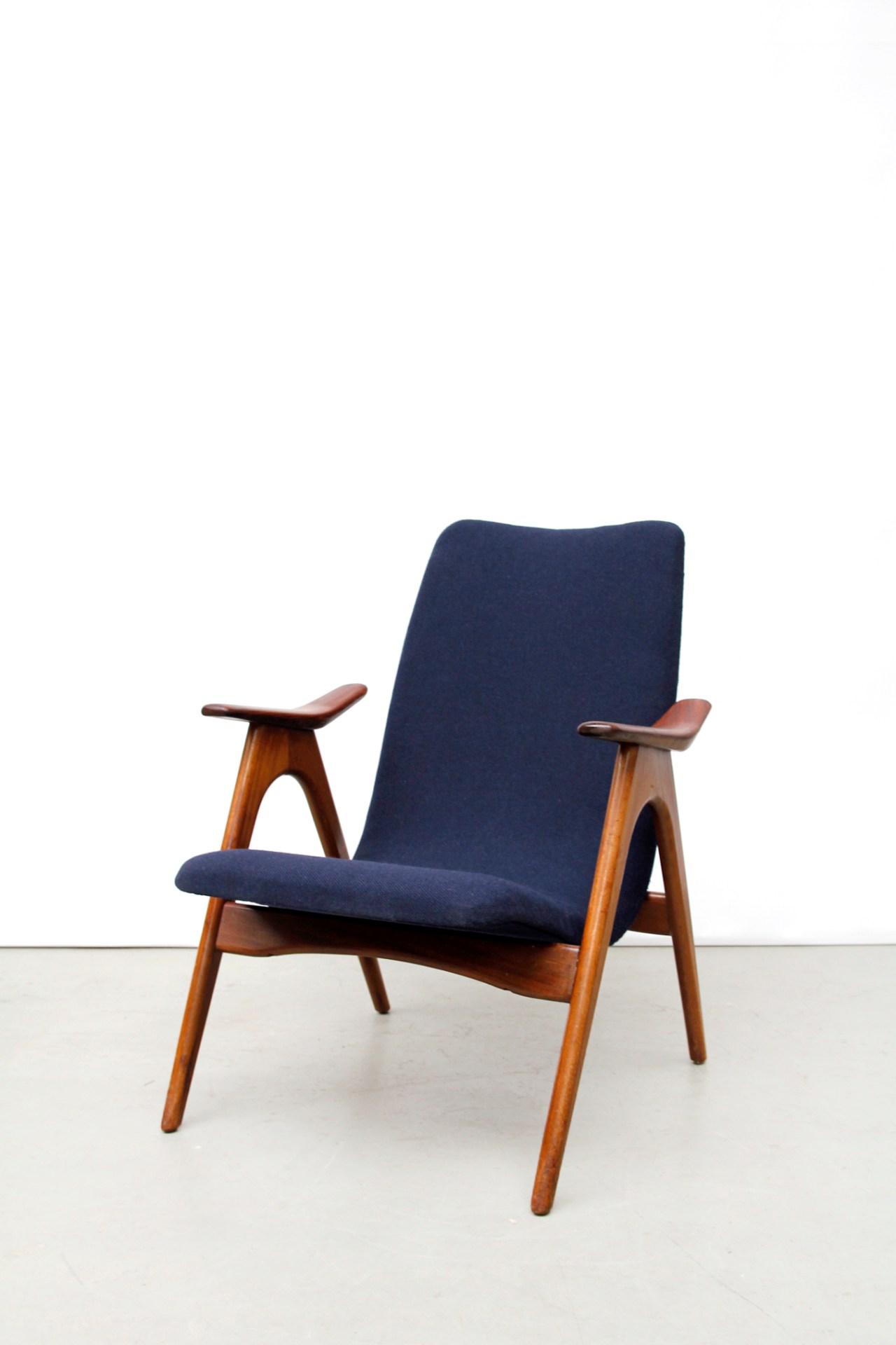 Blauwe Vintage Design Fauteuil Van Ons