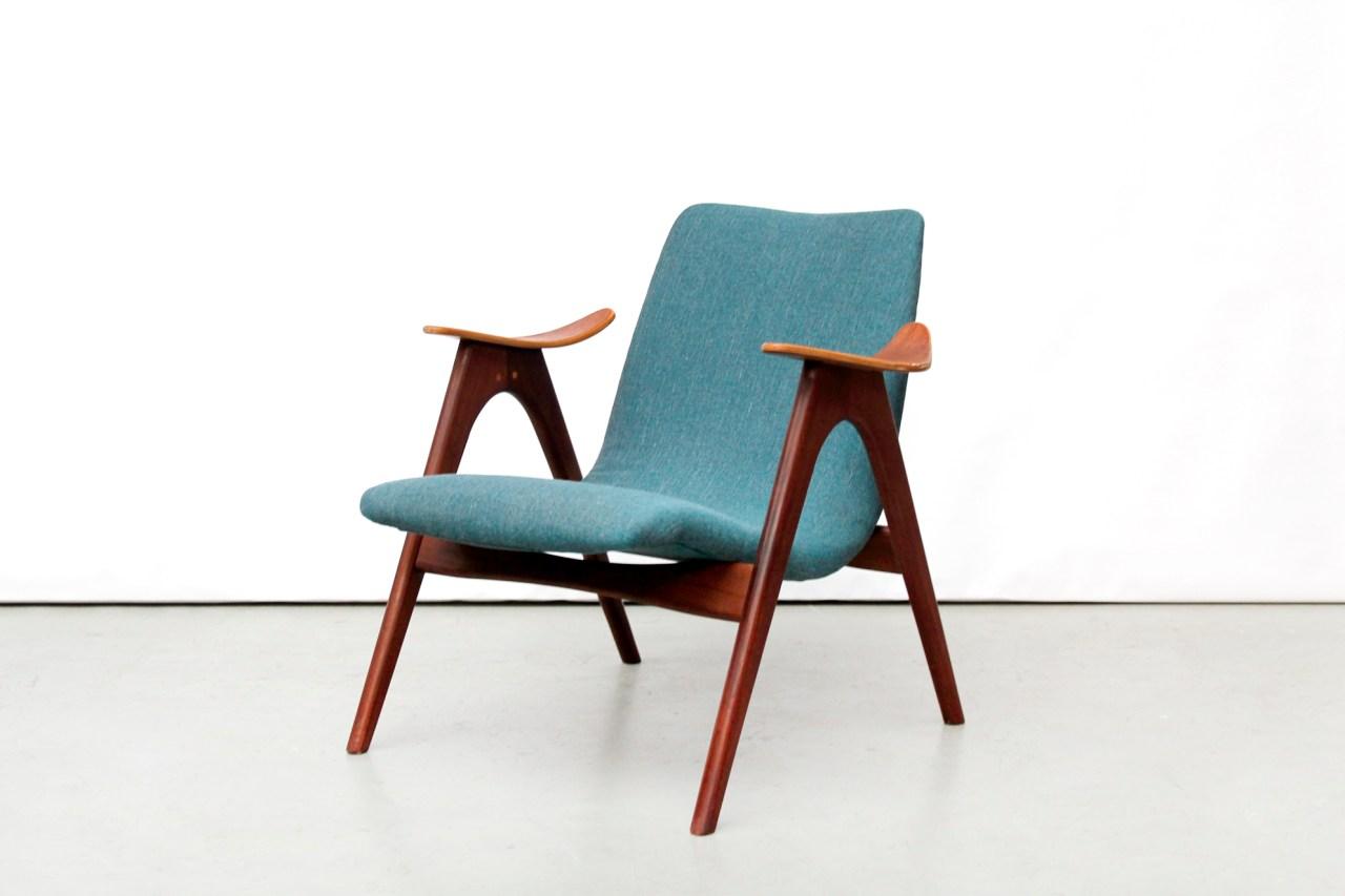 Vintage turquoise design fauteuil teakhout  van OnS
