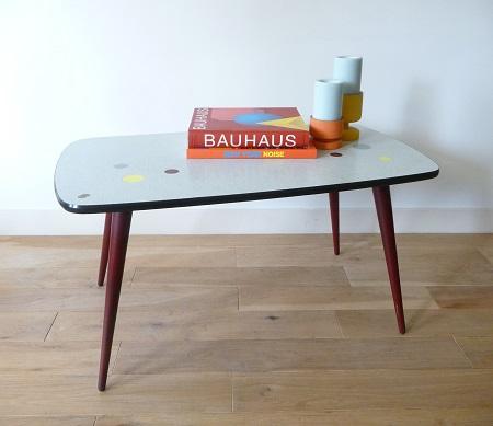 Van oude dingenjaren 50 Zweedse salontafel met ingelegde