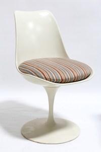 chair side mid century modern curved seat single leg tulip ...